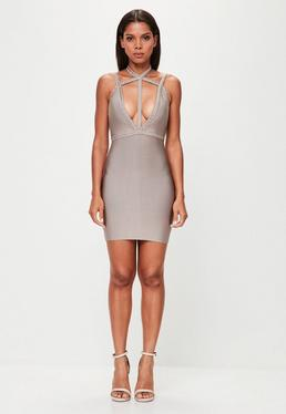 Peace + Love Nude Plait Strap Bandage Bodycon Dress