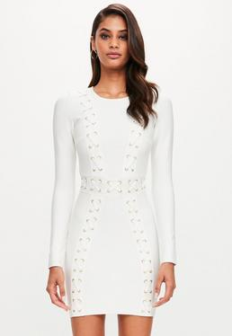 White Long Sleeve Bandage Plait Detail Dress