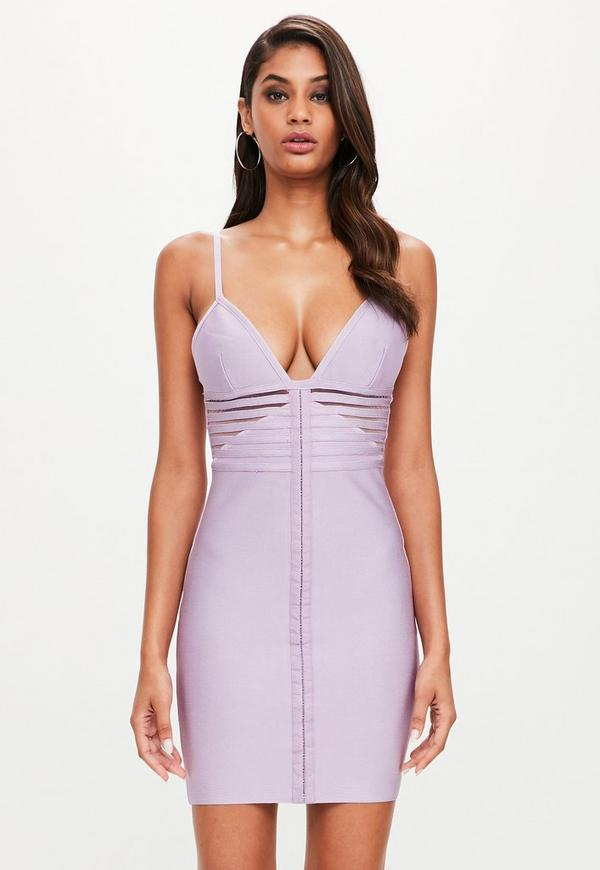 Peace + Love Lilac Strappy Bandage Dress