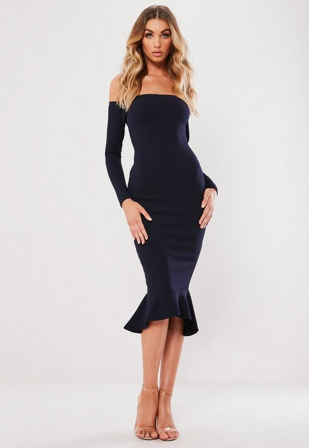 Missguided - Bardot Fishtail Hem Bodycon Dress - 1