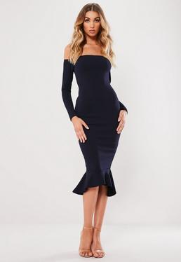 Navy Bardot Fishtail Hem Dress