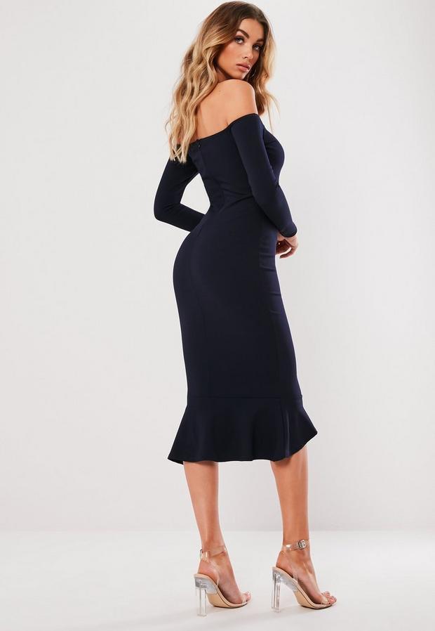 Missguided - Bardot Fishtail Hem Bodycon Dress - 4