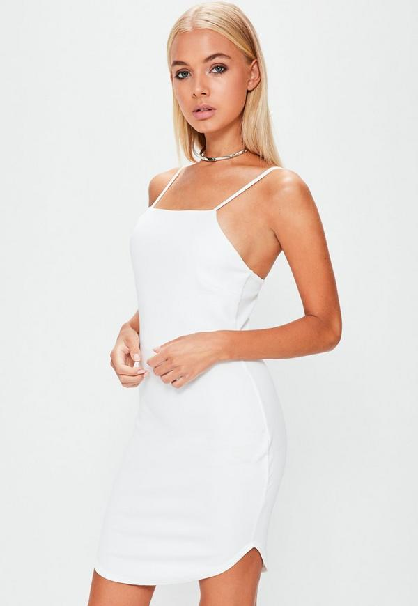 White Square Neck Curve Hem Bodycon Dress