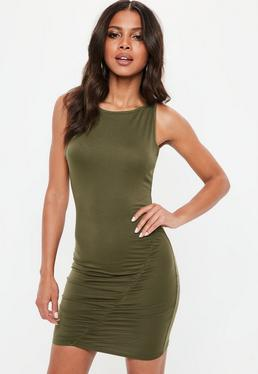 Khaki Jersey Ruched Side Bodycon Dress