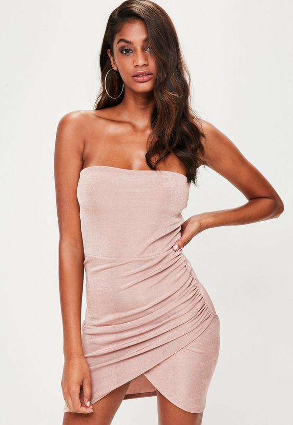 Nude Bandeau Ruched Side Bodycon Dress