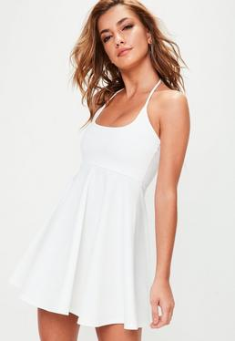 White Halterneck Skater Dress