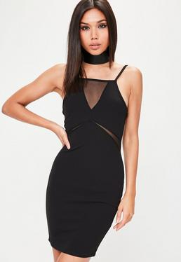 Black Strappy Mesh Insert Bodycon Dress