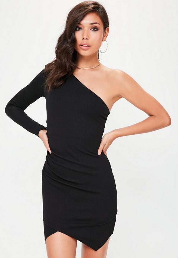 black one shoulder bodycon dress missguided
