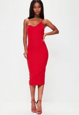 Red Strappy Midi Dress