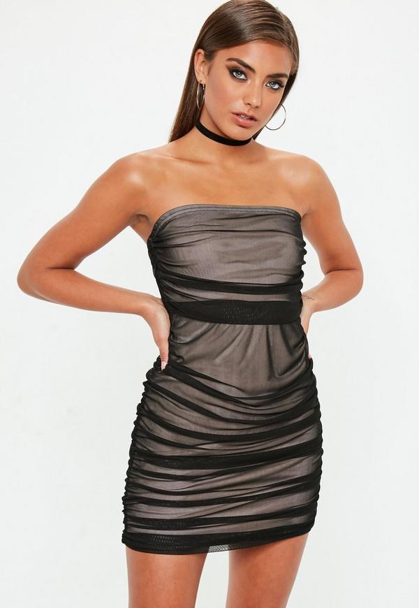Black Mesh Ruched Bandeau Bodycon Dress