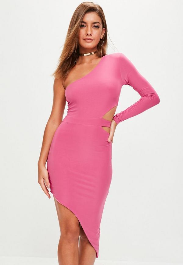Pink One Shoulder Midi Dress