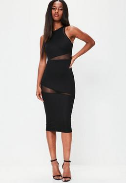 Black Round Neck Mesh Insert Midi Dress