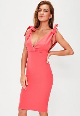 Pink Bow Shoulder Plunge Midi Dress