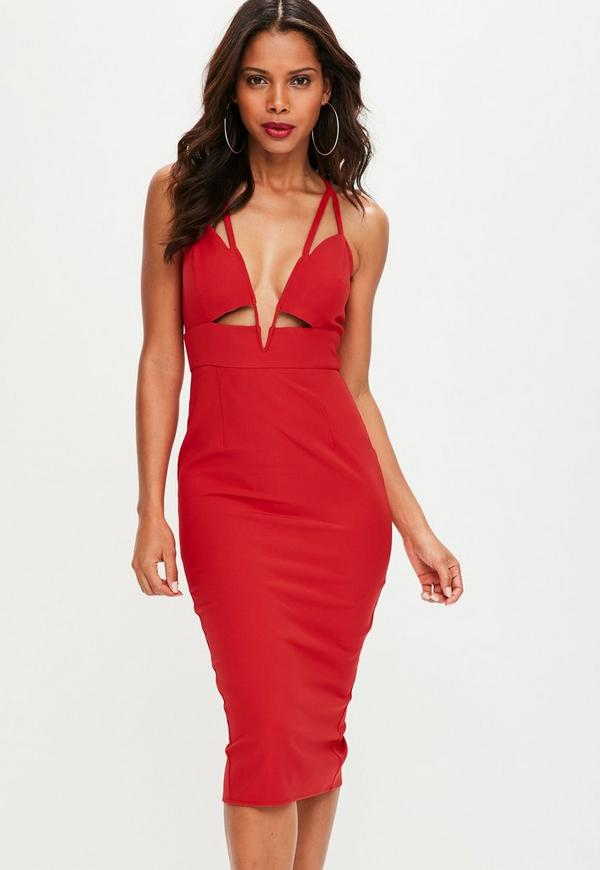 Red Cut Out Plunge Midi Dress