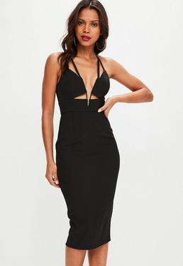 Black Cut Out Plunge Midi Dress