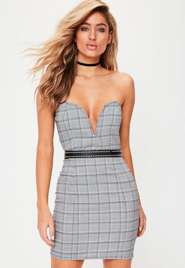 Black Check Bandeau Plunge Front Mini Dress