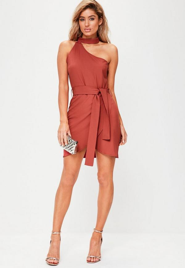 0f1d159a804e Red One Shoulder Choker Neck Tie Waist Bodycon Dress | Missguided ...