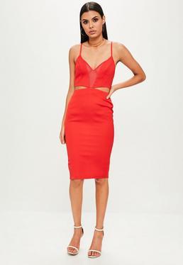 Czerwona sukienka midi z dekoltem V