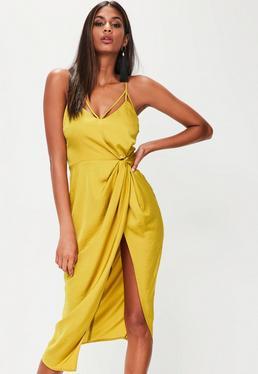 Yellow Twist Front Detail Midi Dress