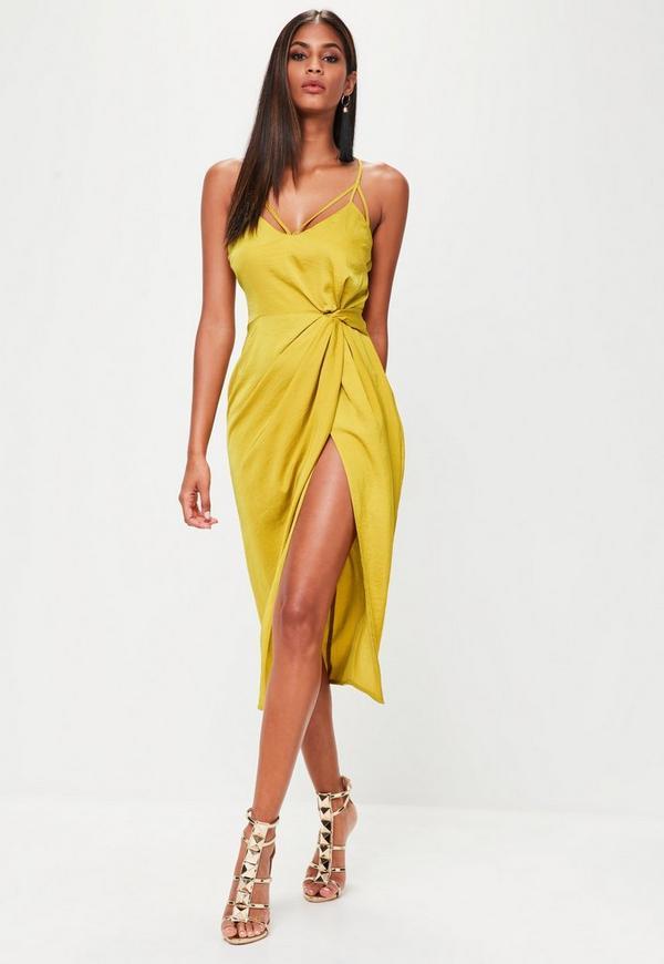 Yellow Twist Front Detail Midi Dress Missguided