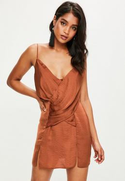 Orange Satin Twist Front Strappy Mini Dress