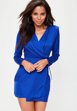Blue Tie Side Extreme Shoulder Wrap Dress