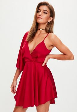 Red Satin Asymmetric Swing Dress