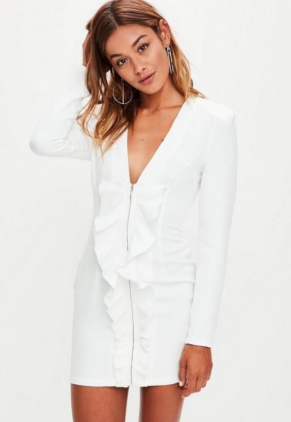 White Frill Front Extreme Shoulder Pads Dress