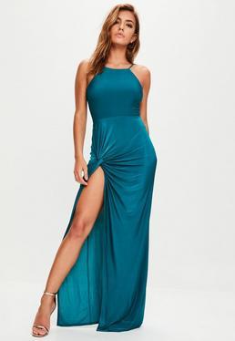 Teal Blue Slinky Maxi Dress