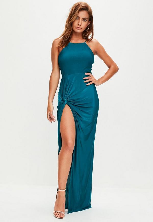 Teal Blue Slinky Maxi Dress | Missguided