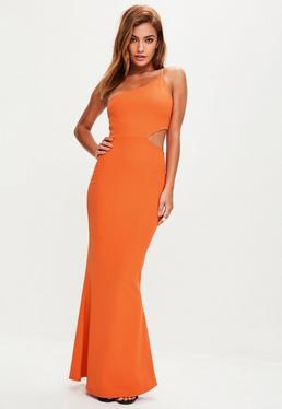 Orange Cut Out One Shoulder Dress