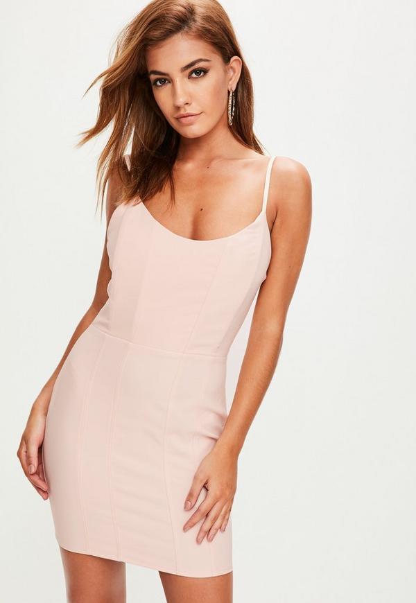 Pink Boned Scoop Neck Bodycon Dress