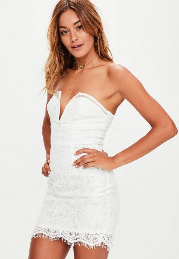 White Lace Plunge V Bar Mini Dress
