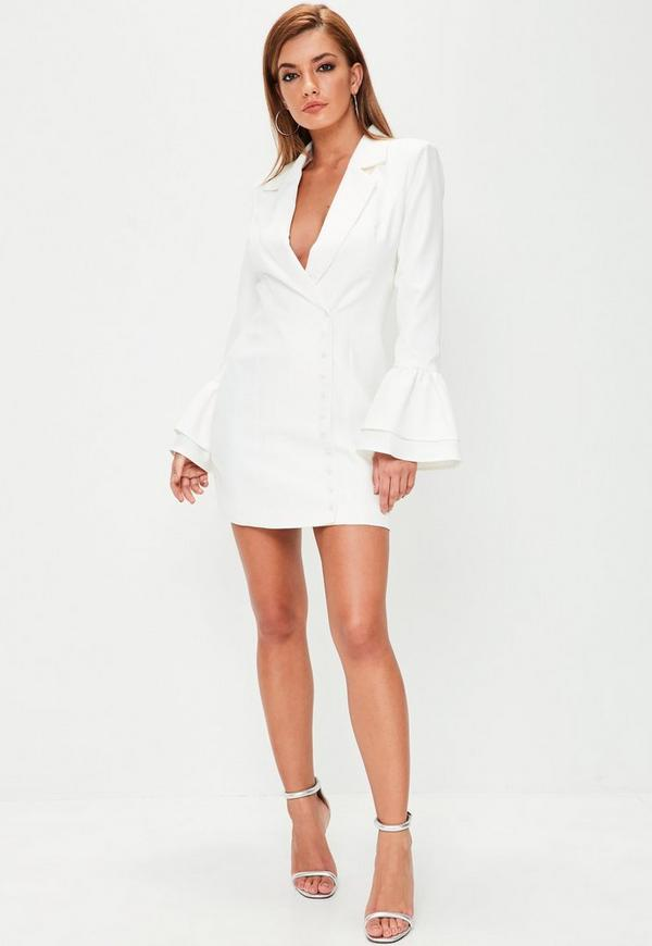 White Frill Sleeve Blazer Dress | Missguided