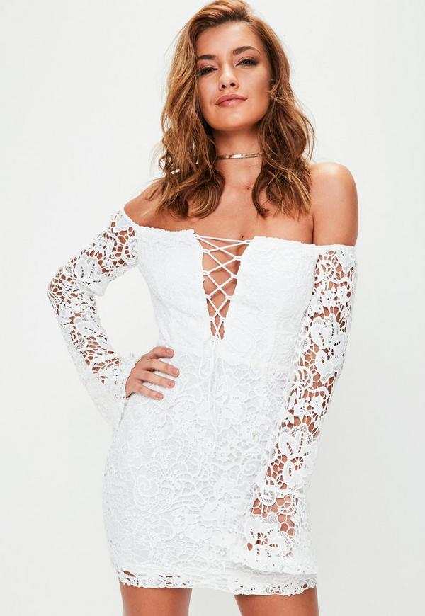 White Crochet Bardot Lace Up Front Bodycon Dress