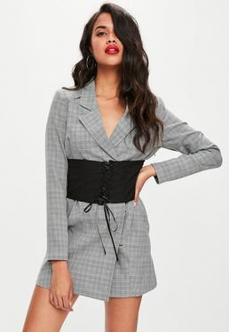 Grey Check Belted Blazer Dress
