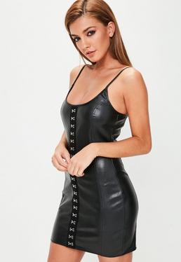 Black Faux Leather Hook and Eye Strappy Mini Dress