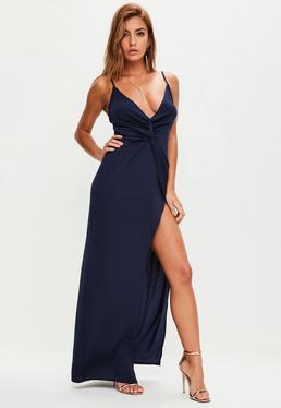Navy Strappy Plunge Maxi Dress