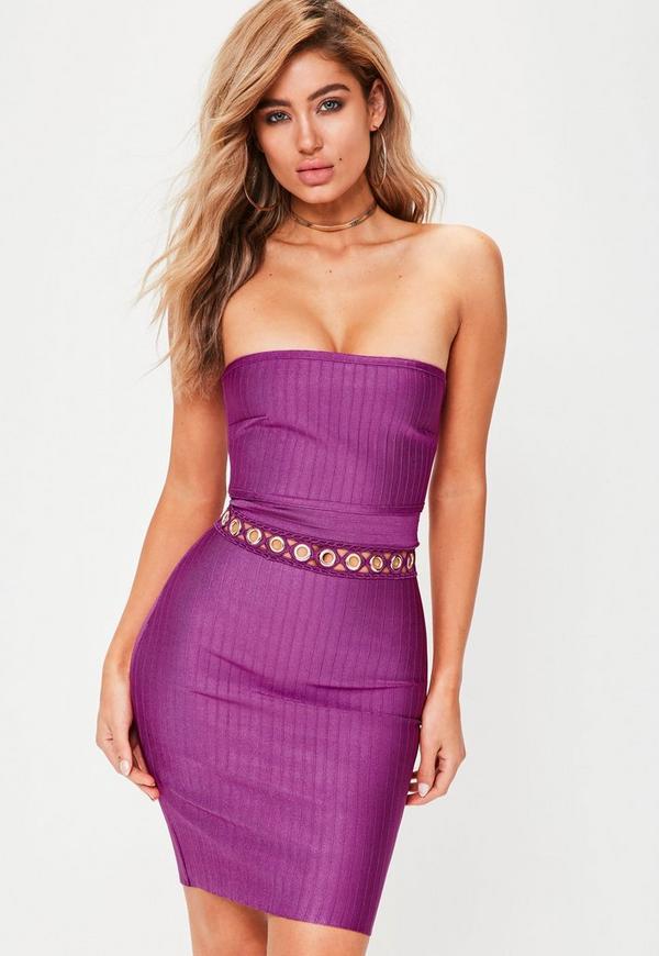 Premium Purple Bandage Eyelet Detail Dress