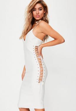 Premium White Lace Up Side Bandage Midi Dress