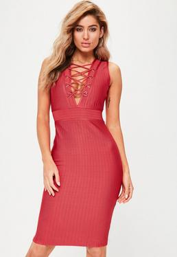Red Premium Bandage Lace Up Dress
