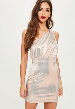 Silver Foiled One Shoulder Mini Dress