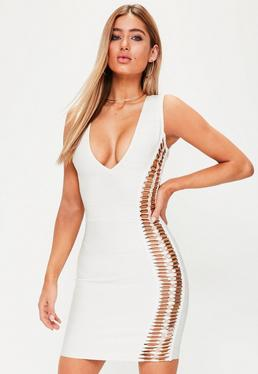 Premium White Bandage Metal Detail Bodycon Dress