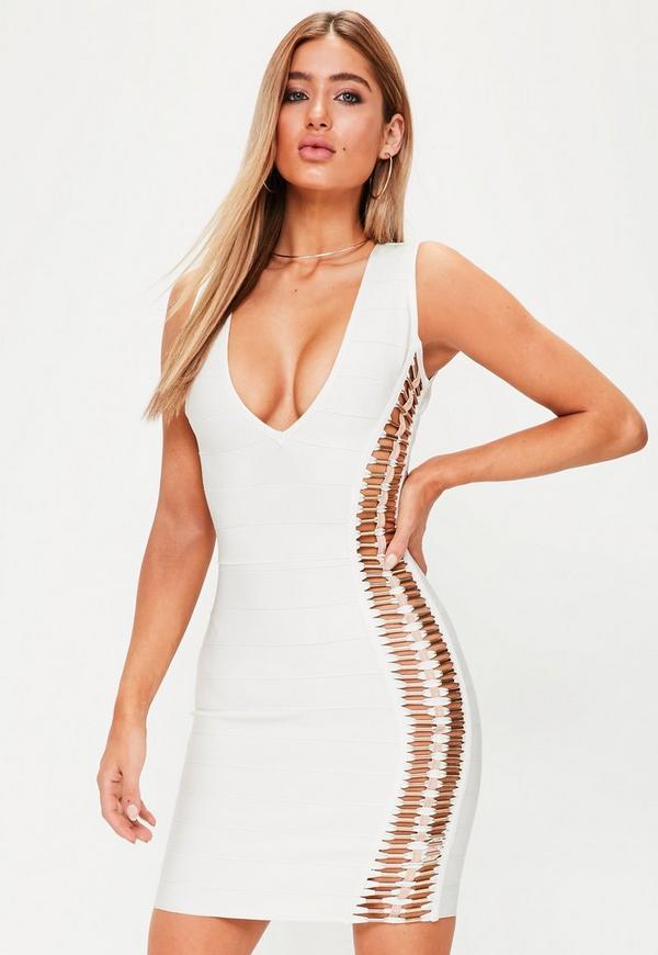 Premium White Bandage Metal Detail Bodycon Dress