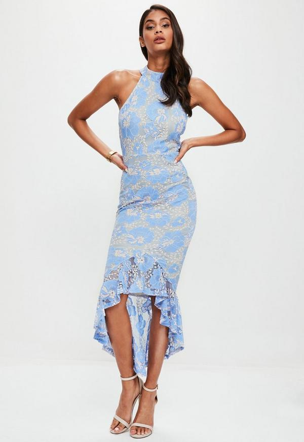 Blue Corded Lace Fishtail High Neck Dress