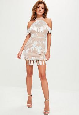 White High Neck Sequin Dress