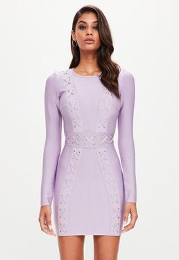 Peace + Love Liliowa bandażowa sukienka z długimi rękawami