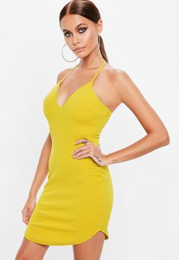 Yellow Halterneck Bodycon Dress