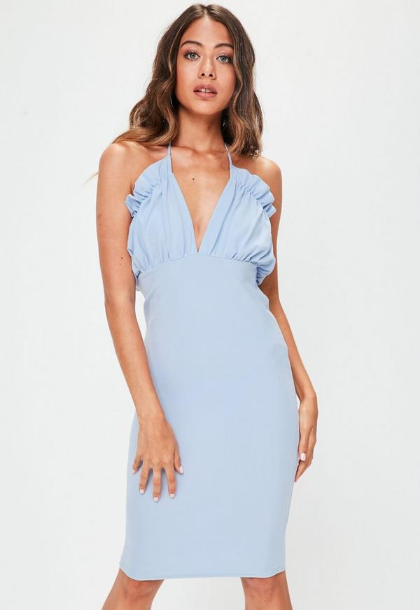 Blue Halterneck Plunge Ruffle Dress