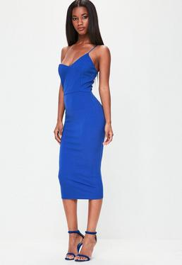 Blue Strappy Midi Dress